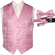 Light Pink XS to 6XL Paisley Tuxedo Suit Dress Vest Waistcoat & Bow tie ... - $20.77+
