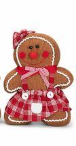 "TRANSPAC Standing Gingerbread GIRL Figurine 13 x 10"" Corduroy Fabric  SH... - $59.99"