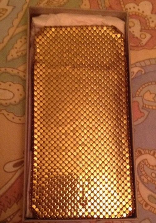 Whiting & Davis Gold tone Mesh Eyeglass Case Vintage NIB