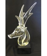 Vintage glass reindeer head statue made in sweden for broadway department store - $148.50