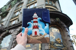 Lighthouse,Refillable Leather Notebook A5,Hand tooled painted leather jo... - $400.00