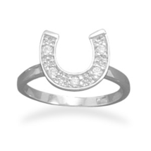 Sterling Silver Ring with CZ Horseshoe - $46.95