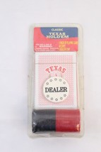 NIB CLASSIC TEXAS HOLDEM CARD GAME WITH CHIPS AND DEALER CHIP - $12.82