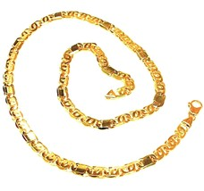"""SOLID 18K YELLOW WHITE GOLD CHAIN TIGER EYE ALTERNATE 3+1 FLAT LINKS 5.5mm, 24"""" image 1"""