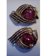 CORO Clip on Earrings Vintage Gorgeous Red Mott... - $15.79