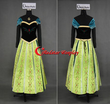 Snow Queen Anna Coronation Cosplay Costume Dress (Ver. C) --- Embroidery style - $109.00