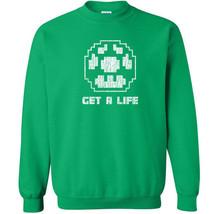 123 Get a Life Crew Sweatshirt 1 up power video game 80s college mario g... - $20.00+
