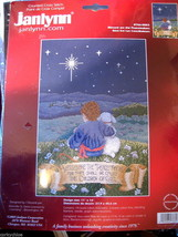 Vtg Janlynn Cross Stitch Kit Blessed Christmas Peace Child Dog NEW USA Made - $9.00