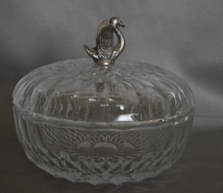 Crystal Lidded Candy Dish Topped with Pewter Swan
