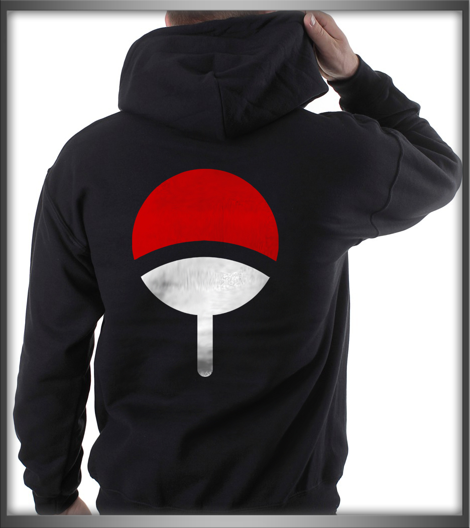Uchiha Sweater: Uchiha On Back Only Clan Symbol Naruto BLACK Pullover