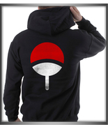 Uchiha on back only Clan Symbol Naruto BLACK pullover hoodie S to 3XL - $31.00+