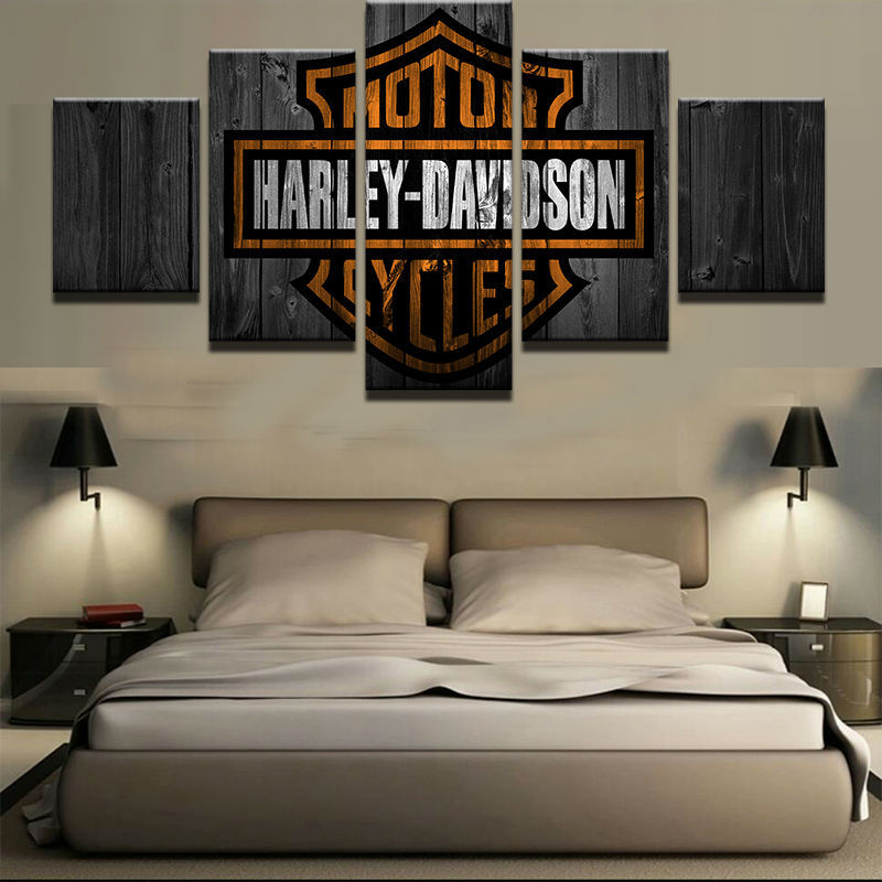 Used, 5pcs Harley Davidson Motorcycles Printed Canvas Wall Art Picture Home Decor for sale  USA