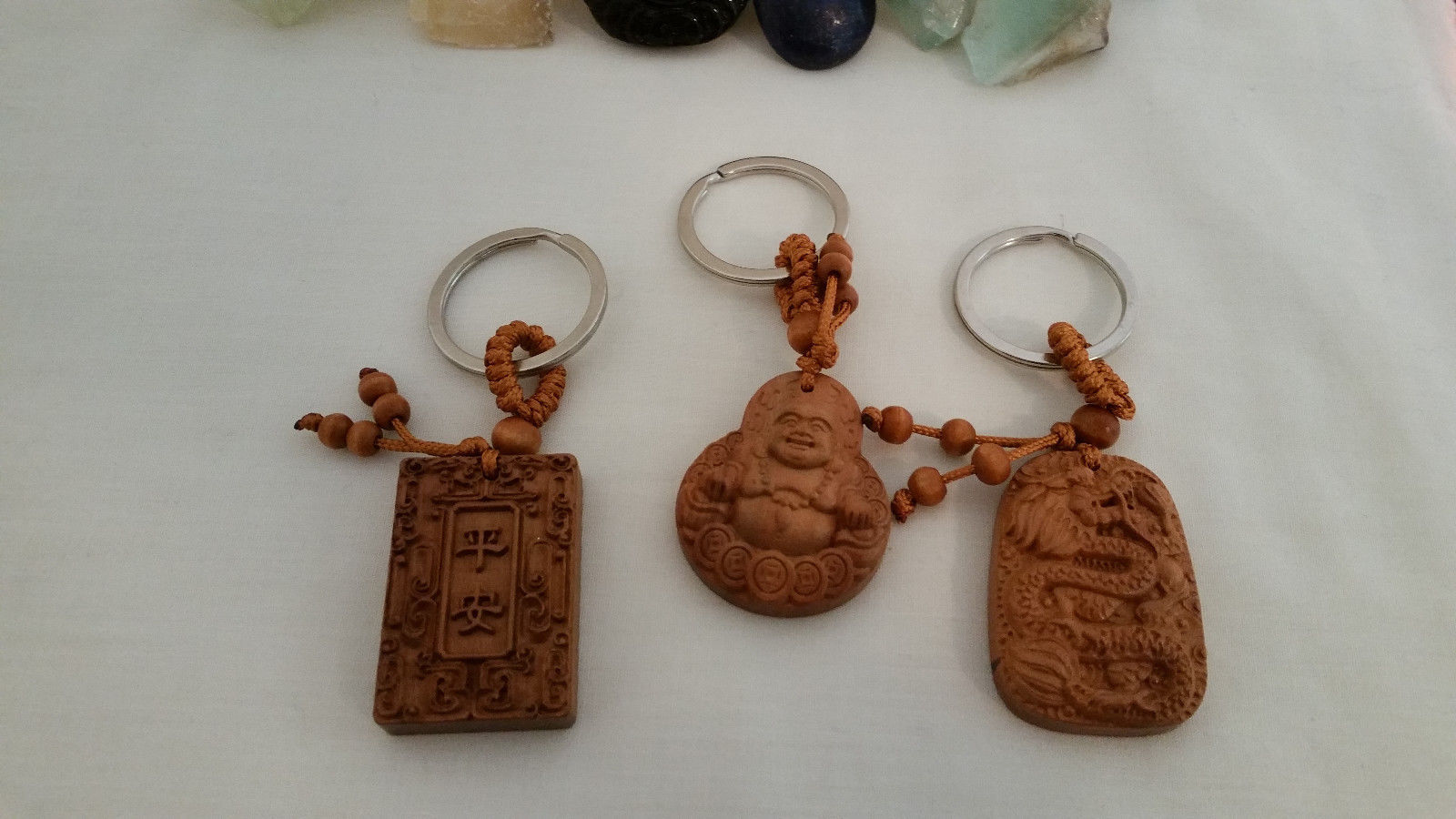 Set of 3 NEW  Bamboo Good Luck Key chains Buddha, Dragon, and Holy Book image 3