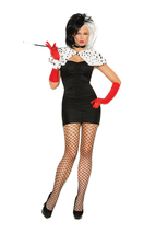 Sexy Elegant Moments Cruella De Vil 101 Dalmations Dog Napper Costume S-... - $40.99