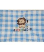GARANIMALS AROARABLE ADORABLE LION BABY BOY PLUSH FLEECE BLANKET BLUE PLAID - $69.29