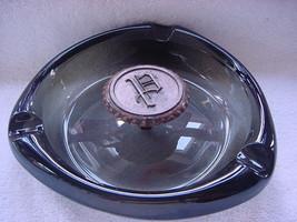 Roseville Hyde Park smoky glass ashtray metal P in center heavy - $13.50