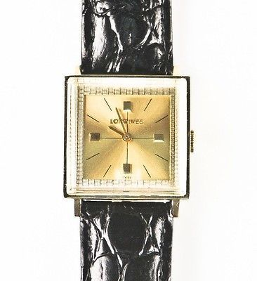 Longines Vtg 14k Yellow Gold Mechanical Hand-Winding Watch w/ Leather Band