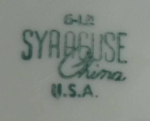 Syracuse China Mid Century Serving Bowl White Gold Spirals Swirls Vintage 1957