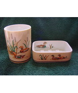 Wood Ducks by Andre Richard Made in Japan glass & soap dish  - $20.00