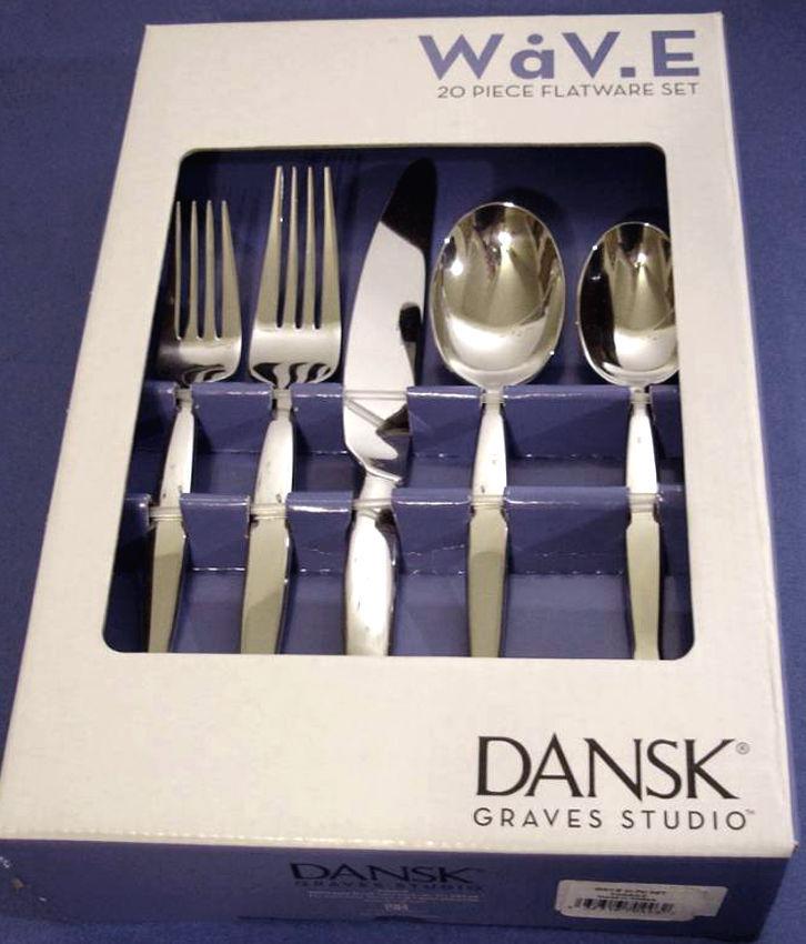 Dansk WaV.E 20 Piece Stainless Flatware SERVICE FOR 4 Wave Graves Studio 18/10 image 2