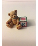 "CHERISHED TEDDIES BEAR WITH ABC ""K"" BLOCK ENESCO PRISCILLA HILLMAN 158488N - $5.00"