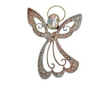Rhinestone Angel Brooch Pin Flowing Dress [Jewelry] - $9.75