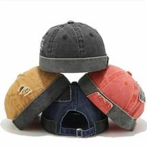 Hat Bowler Sailor Flat Top Caps Unisex Skullcap Cotton Adjustable Brimle... - $19.99