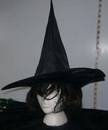 Ladies Modu Med Length Wig Black w/Red Highlights & Black Halloween Witches Hat - $12.67