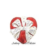 Solid Pewter Silver Metal Red Heart Trinket Keepsake Box - $23.75