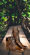 Handmade Men Brown Leather High Ankle Military Boot image 1