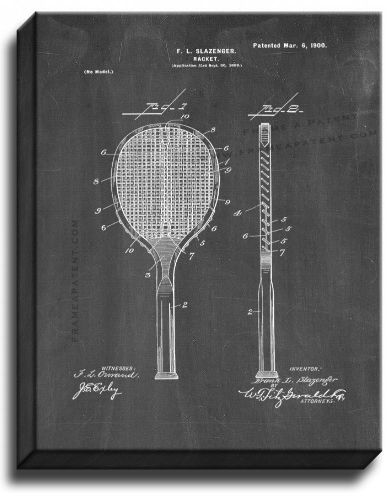 Primary image for Racket Patent Print Chalkboard on Canvas