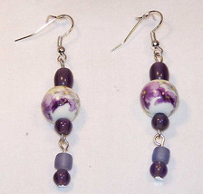 Dangle Earrings: Ceramic White Bead with Purple... - $5.45