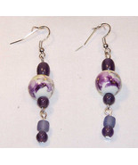Dangle Earrings: Ceramic White Bead with Purple... - $5.45