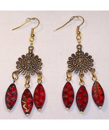Red Elongated Etched Glass Bead Dangle Earrings... - $7.92
