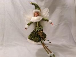 """American Silkflower Collection Green Velvet Skirt Hanging Angel Ornament 12"""""""