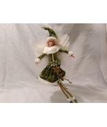 American Silkflower Collection Green Velvet Skirt Hanging Angel Ornament... - $34.99