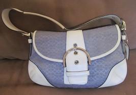 COACH SIGNATURE Hobo Crossbody Shoulder Purse Handbag Blue/White Women's... - £45.54 GBP