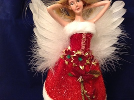 """American Silkflower Collection Red Skirt and Hat Hanging Angel Ornament 12"""" image 4"""