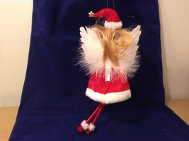 """American Silkflower Collection Red Skirt and Hat Hanging Angel Ornament 12"""" image 7"""