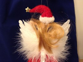 """American Silkflower Collection Red Skirt and Hat Hanging Angel Ornament 12"""" image 8"""