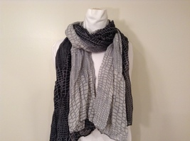 Black-Gray Geometric Scarf / Shawl 100% Polyester by Magic Scarf Company
