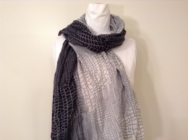 Black-Gray Geometric Scarf / Shawl 100% Polyester by Magic Scarf Company image 2