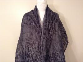 Black-Gray Geometric Scarf / Shawl 100% Polyester by Magic Scarf Company image 4