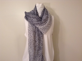 White with Black Polka Dots Scarf / Shawl 100% Polyester by RIKKA