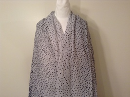 White with Black Polka Dots Scarf / Shawl 100% Polyester by RIKKA image 2