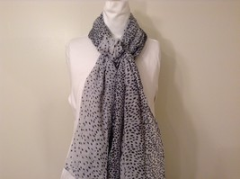 White with Black Polka Dots Scarf / Shawl 100% Polyester by RIKKA image 3