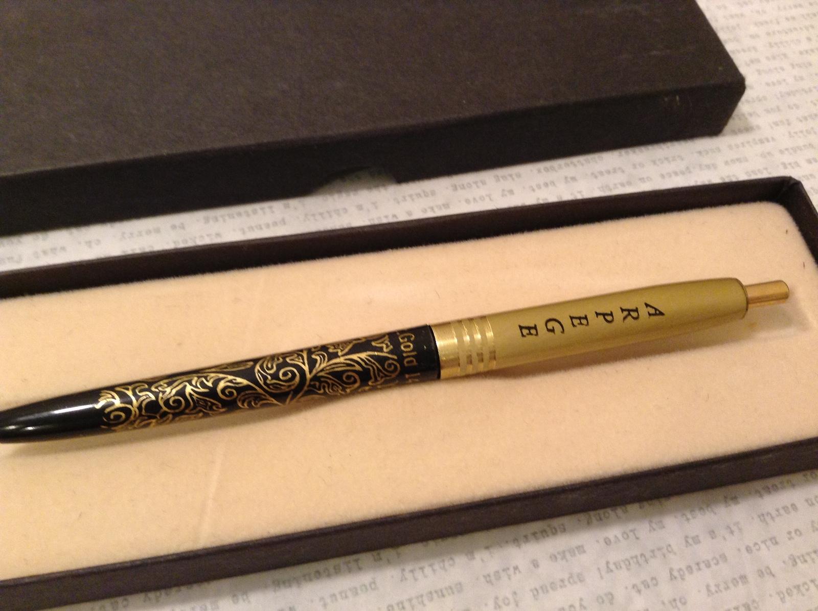 Vintage Perfumed Writing Pen Arpege 14K Gold Filigree Black Gold tone