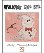 Walking The Bat ghost halloween cross stitch chart CM Designs - $7.20