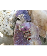 Sterling Silver Ruby Zoisite Garnet and Biwa Pearl large Pendant - $36.00