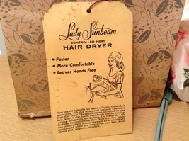 Vintage Lady Sunbeam Controlled Heat Hair Dryer with Plastic Hat Old Fashion  image 2